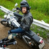 Andrey and his beautiful Honda Shadow, the morning of my departure